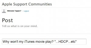 A snipshot of: why won't my iTunes movie play? from itunes server