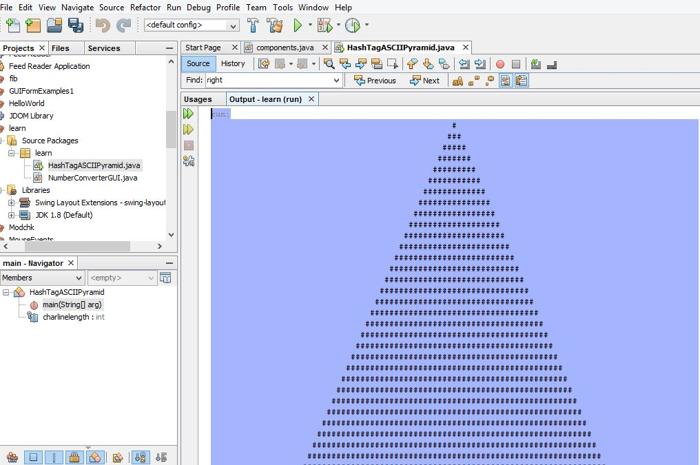 a snap of the pyramid program in-process using the Netbeans IDE