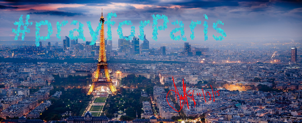 a picture of paris at dawn or dusk with the words hashtag pray for paris inscribed over the skyline and signed by chris welke